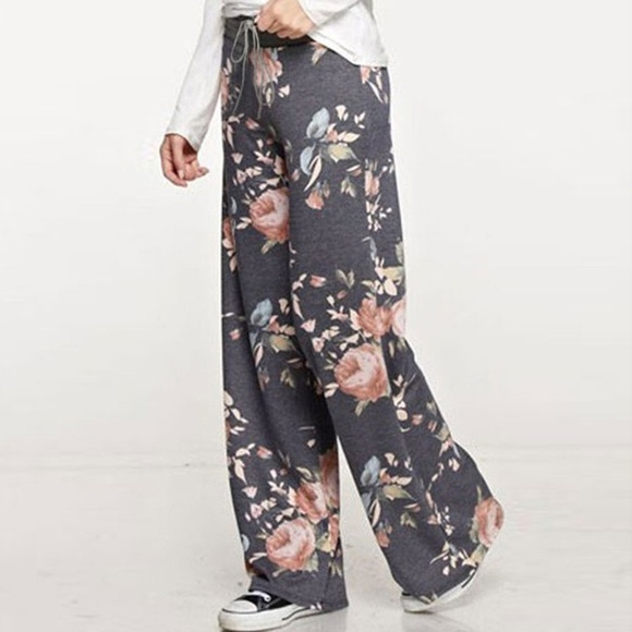 015ae2afc6607 Pants | Silky Charcoal Drawstring Floral Lounge | Poshmark